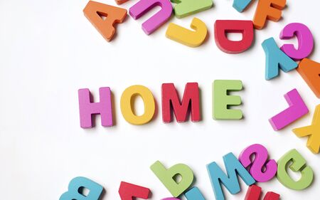 Colorful Word ' HOME ' on White Background Stok Fotoğraf - 131958280
