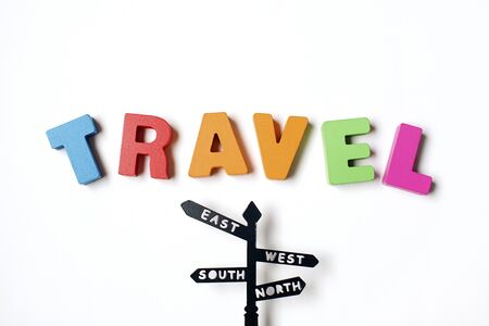 Isolated Colorful Word ' TRAVEL ' Find Your Destination Stok Fotoğraf - 131957420