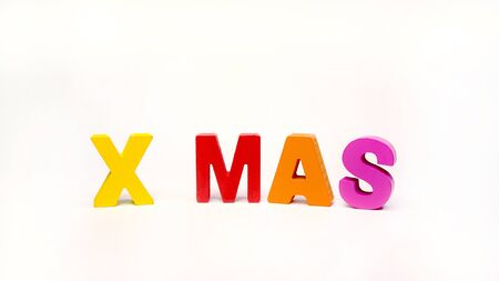 X MAS  Colorful Letter Wood