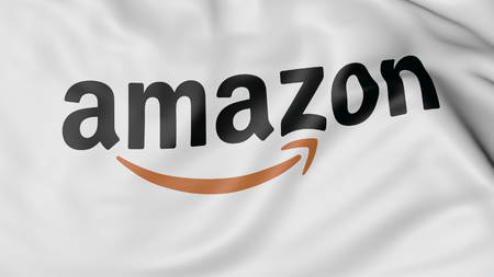 dot com: Close up of waving flag with Amazon.com logo. Editorial Editorial