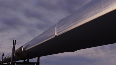 throughput: Shiny pipeline against evening cloudy sky