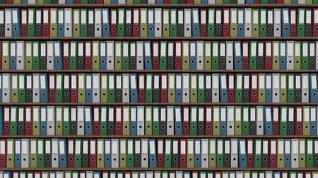 registros contables: Filas de carpetas de la oficina multicolores Foto de archivo