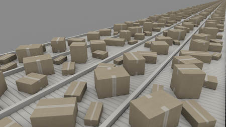conveyors: A lot of different cartons moving on conveyors