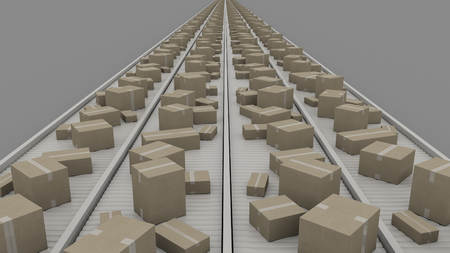 sellotape: A lot of different cartons moving on conveyors