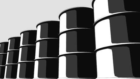 steel drum: Row of black oil barrels. Cartoon version for presentations and reports. 3D