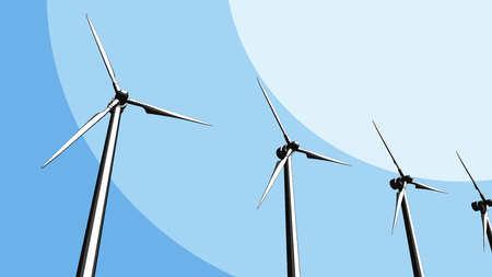 Several wind turbines, CG sketch