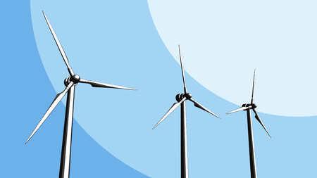 Wind turbine farm sketch. 3D rendering Stock Photo