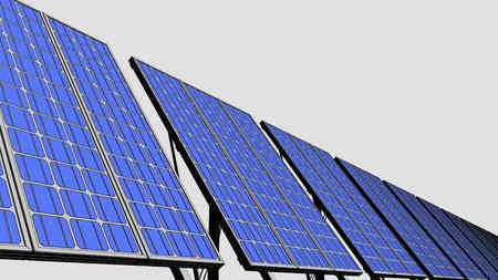 panels: Multiple solar panels, sketch version for presentations and reports. 3D Stock Photo