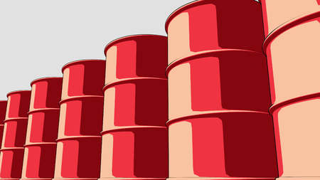 red drum: Line of glossy red metal barrels. Cartoon version for presentations and reports. 3D