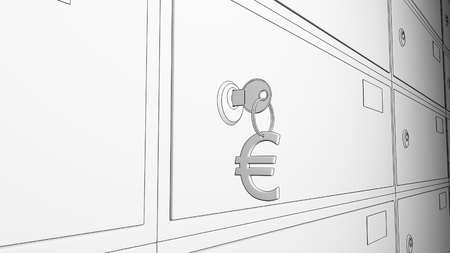 borehole: Bank safe deposit boxes and the key with euro sign keychain. 3D Stock Photo