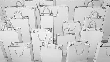 loopable: Sketchy shopping bags. Seamless loopable 4K clip, Stock Photo
