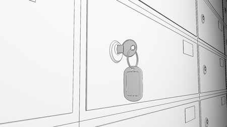 borehole: Sketch row of safe deposit boxes and inserted key. 3D