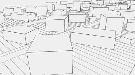 conveyors: Simplified different sized boxes on conveyors. 3D
