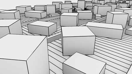 size distribution: Many different sized cartons moving on conveyors, sketchy. 3D Stock Photo