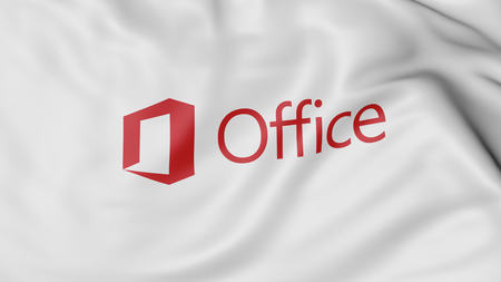 Close up of waving flag with Microsoft Office logotype. United States