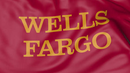 Close up of waving flag with Wells Fargo logo, United States