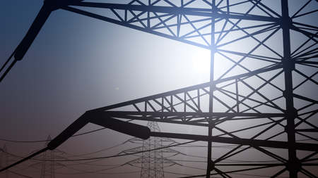 against the current: Power pylons against cloudless sky Stock Photo