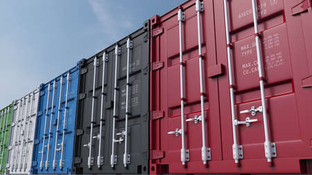 Row of multicolor cargo containers