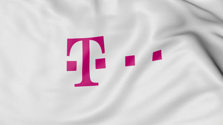 Close up of waving flag with T-Mobile logo, United States Editorial