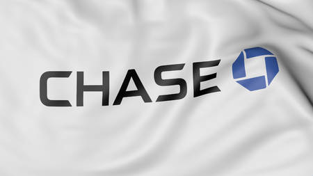 Close up of waving flag with JPMorgan Chase Bank logo, United States Publikacyjne