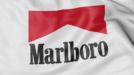 3d virginia: Close up of waving flag with Marlboro logo, United States