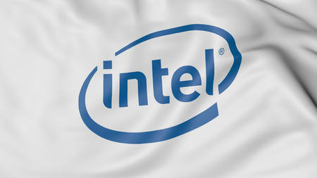 intel: Close up of waving flag with Intel logo, United States