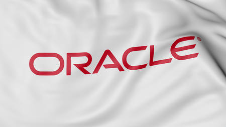 Close up of waving flag with Oracle logo, United States