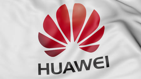 Close up of waving flag with Huawei logo, United States