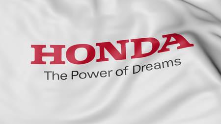 HONDA: Close up of waving flag with Honda logo, United States Editorial