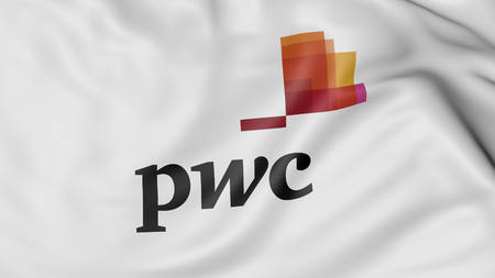 Close up of waving flag with PwC logo, United States