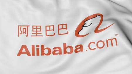 alibaba: Close up of waving flag with Alibaba logo, United States