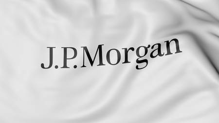 financial official: Close up of waving flag with J.P. Morgan logo, United States