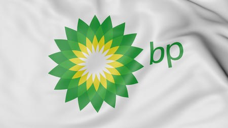 Close up of waving flag with BP logo, United States