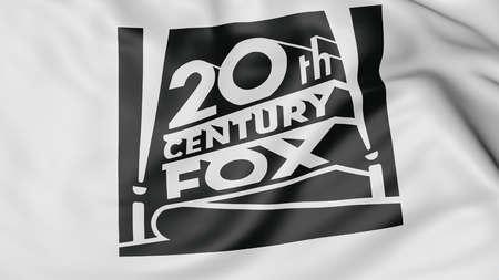 twentieth: Close up of waving flag with Twentieth Century Fox Film Corporation logo, United States