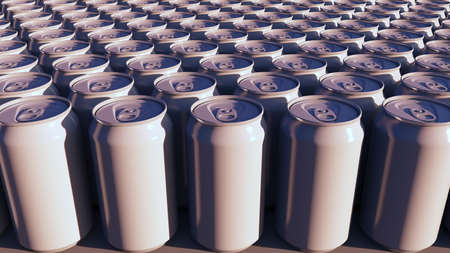 Blank white aluminum cans at sunset. Carbonated drinks or beer production. Recycling packaging. 3D