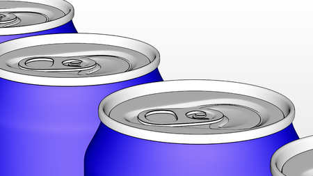 소다, 청량 음료 또는 맥주 생산 라인. 파란색 알루미늄 캔 산업 컨베이어에. 재활용 생태 포장