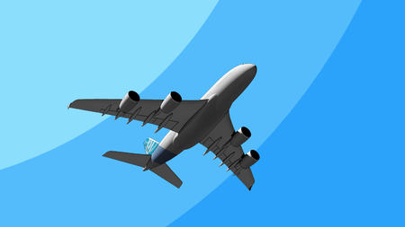 The worlds biggest airliner flying in the sky cartoon 3D. Transportation, heavy weight, travel concepts