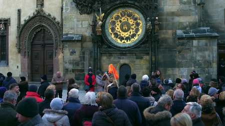 local landmark: PRAGUE, CZECH REPUBLIC - DECEMBER 3, 2016. Crowded Old town square near local landmark - Astronomical clock