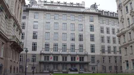 headquarters: VIENNA, AUSTRIA - DECEMBER, 24 P.S.K. Bank Osterreichische Postsparkasse historic headquarters building