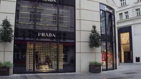 prada: VIENNA, AUSTRIA - DECEMBER, 24 Big Prada store. Italian luxury fashion house Editorial