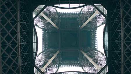 apogee: Eiffel tower, center view from below. Symmetry or engineering concepts