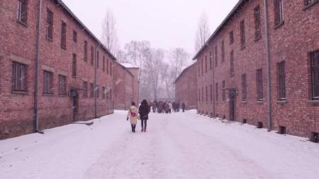 nazi: Guided tour to Auschwitz Birkenau, German Nazi concentration and extermination camp. Brick buildings in falling snow