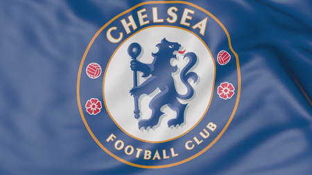 Close-up of waving flag with Chelsea F.C. football club logo Editoriali