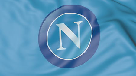 Close-up of waving flag with S.S.C. Napoli football club logo