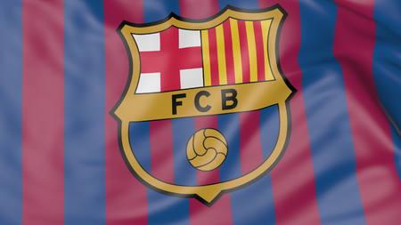 FC 바르셀로나 축구 클럽 로고와 함께 깃발을 흔들며의 근접