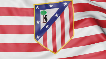 Close-up of waving flag with Atletico Madrid football club logo Zdjęcie Seryjne - 70598796