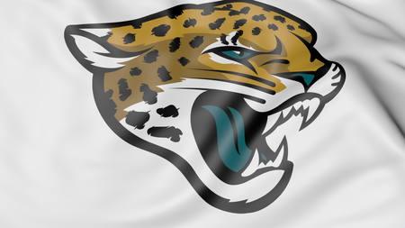Close-up of waving flag with Jacksonville Jaguars NFL American football team logo, 3D rendering