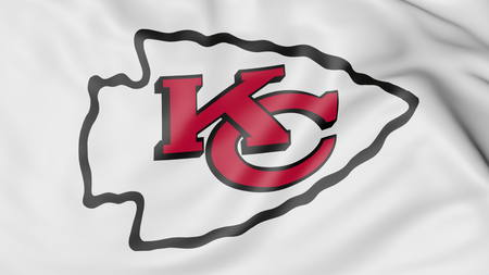 Close-up of waving flag with Kansas City Chiefs NFL American football team logo, 3D rendering Editorial