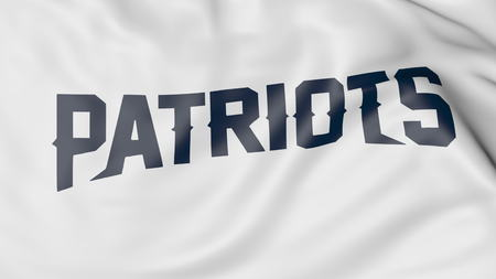 Close-up of waving flag with New England Patriots NFL American football team logo, 3D rendering