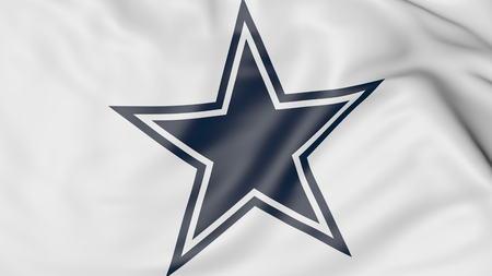 Close-up de la bandera ondeando con Dallas Cowboys NFL logotipo del equipo de fútbol americano, representación 3D